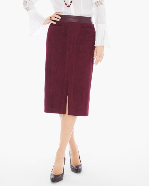Faux-Suede Midi Skirt - Chicos