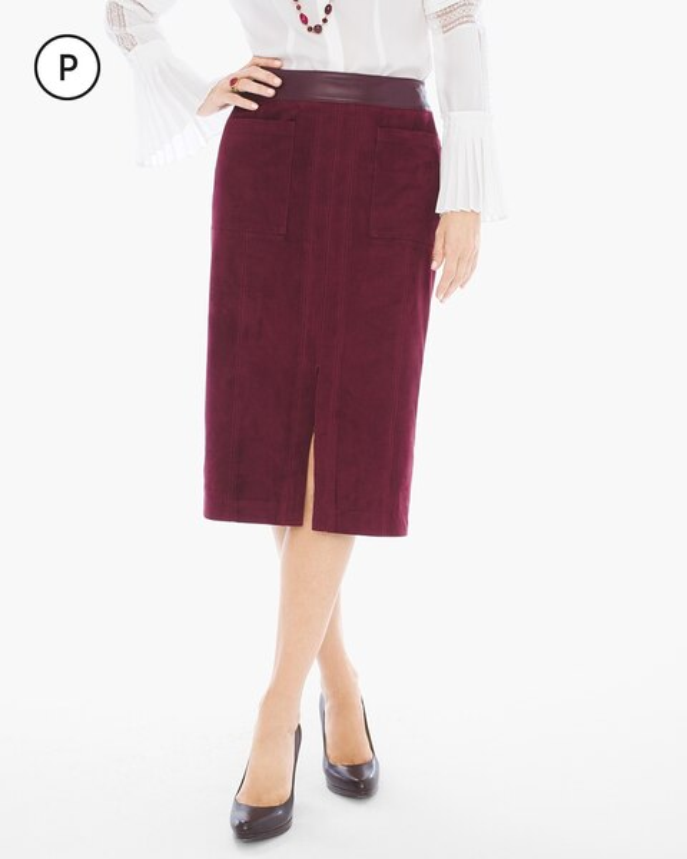 Petite Faux-Suede Midi Skirt - Chicos
