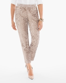 Chico's Sequins and Panne Tapered Ankle Pants at Chico's in Brooklyn, NY | Tuggl