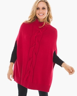 Chico's Wendy Cable Poncho | Tuggl