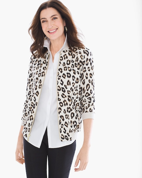 a2422f420e4d Return to thumbnail image selection Animal-Print Bomber Jacket video  preview image, click to start video