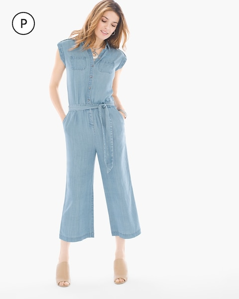 fdfe9658e7a Return to thumbnail image selection Petite Denim Utility Jumpsuit video  preview image