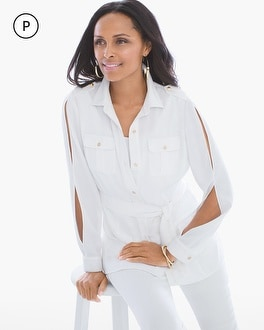 Chico's Petite Cold-Shoulder Utility Jacket at Chico's in Brooklyn, NY   Tuggl