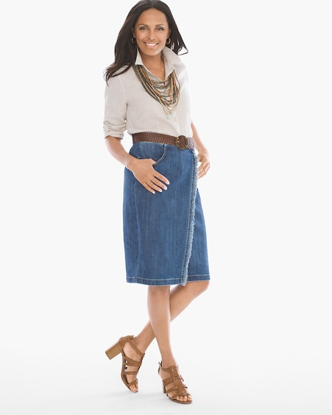 Frayed Denim Skirt - Chicos