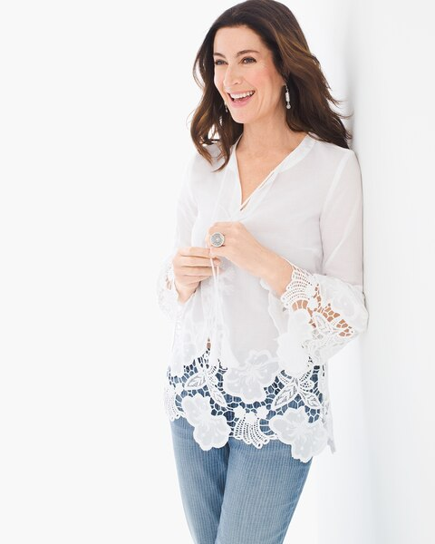 af7da29957fe3 Return to thumbnail image selection Lace Trim Peasant Top video preview  image