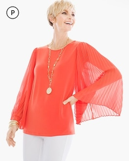 Chico's Petite Pleated Sleeve Top at Chico's in Auburn, GA | Tuggl