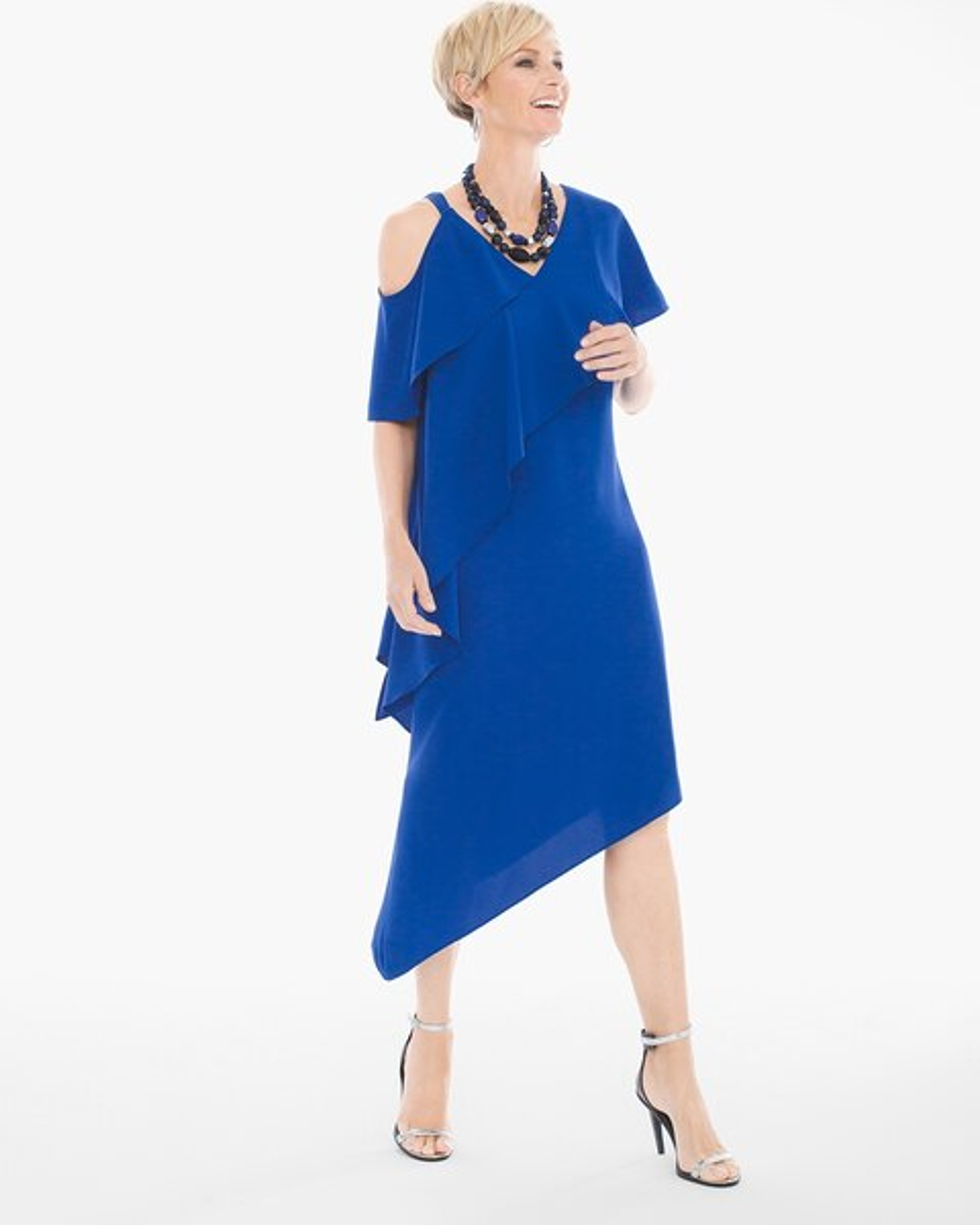 Asymmetrical Ruffle Short Dress Chicos