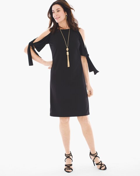50f8c210786 Return to thumbnail image selection Cold-Shoulder Tie-Sleeve Dress video  preview image