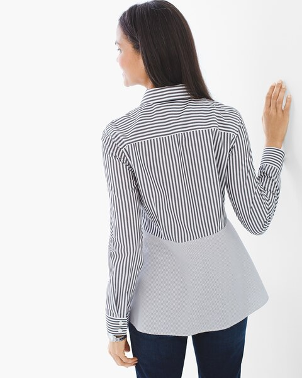 Twin Stripes Peplum Shirt Chicos