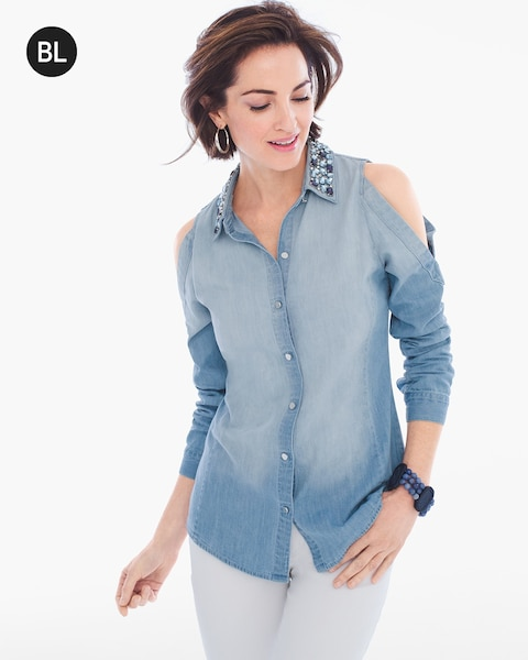3228bcbc5a7fb Return to thumbnail image selection Embellished Cold-Shoulder Shirt video  preview image