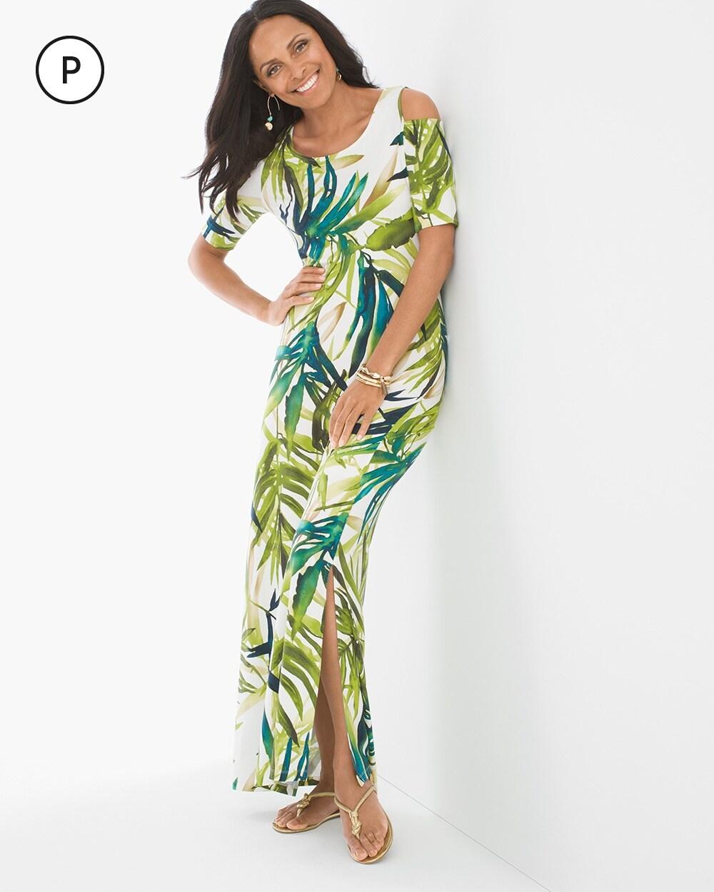 b05fb8f4d6 Petite Tropical Cold-Shoulder Maxi Dress - Chico's