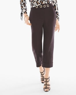 Chico's Belted Hardware Detail Cuffed Crops | Tuggl