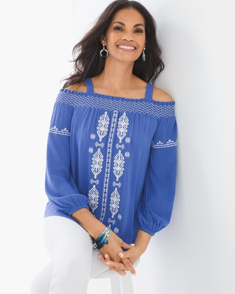 13b4c46b674b81 Cold-Shoulder Embroidered Top - Chico's