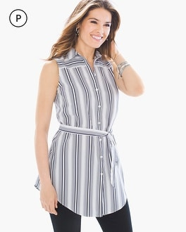 Chico's Petite Polished Striped Shirt at Chico's in Auburn, GA | Tuggl