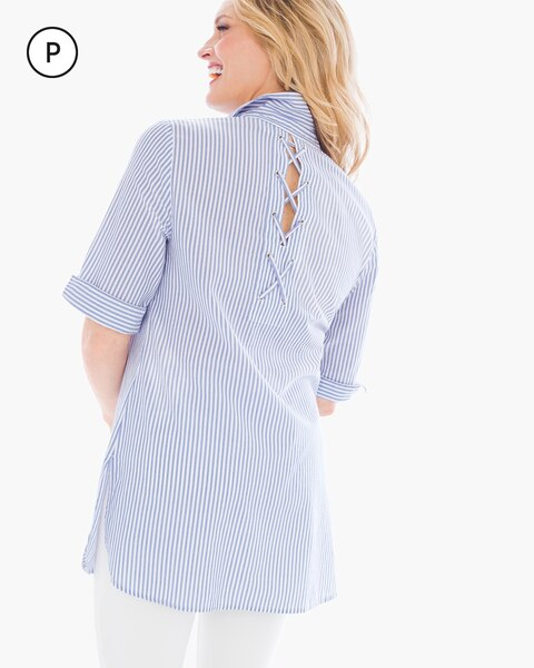 Petite Tie Back Striped Button Down Shirt Chicos