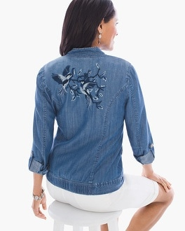 Chico's Bird-Embroidered Bomber Jacket | Tuggl