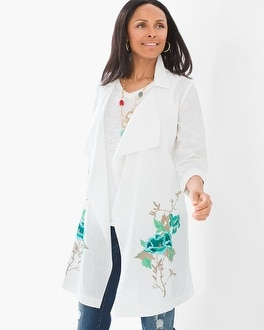 Chico's Long Floral-Embroidered Jacket   Tuggl