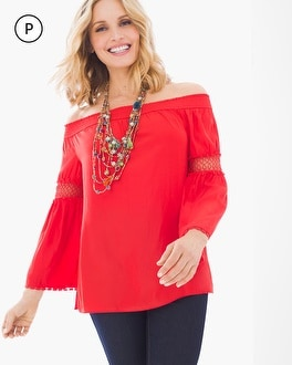 Chico's Petite Crochet Detail Off-the-Shoulder Top at Chico's in Brooklyn, NY   Tuggl