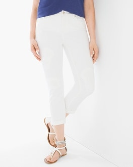 Chico's Eyelet-Embroidered Girlfriend Crops | Tuggl