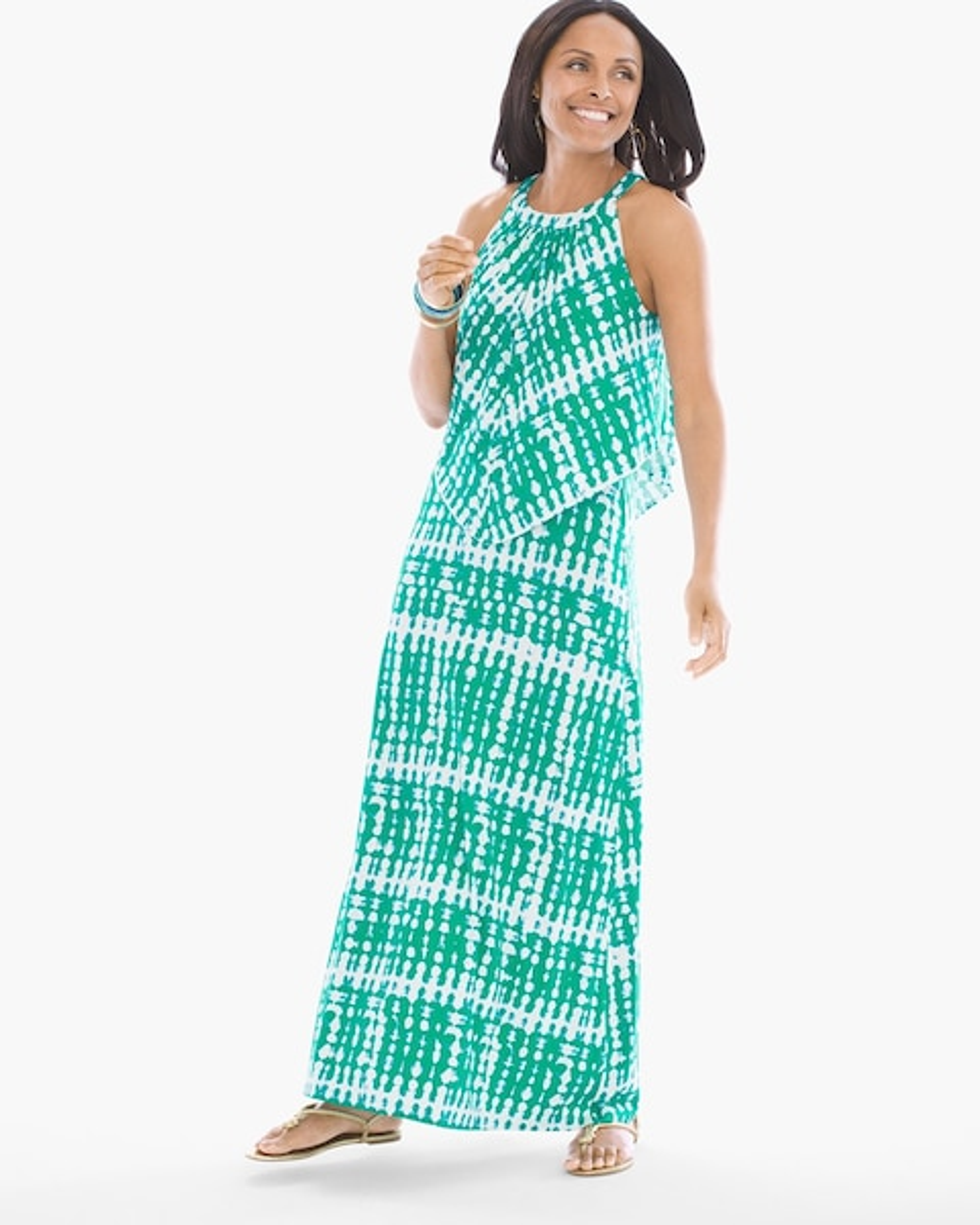 87cdd4af384 Breezy Tie-Dye Popover Maxi Dress - Chico s