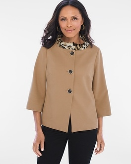 Chico's Faux Fur Animal Collar Jacket | Tuggl