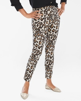 Chico's Diamond Fit Refined Ponte Animal Ankle Pants | Tuggl