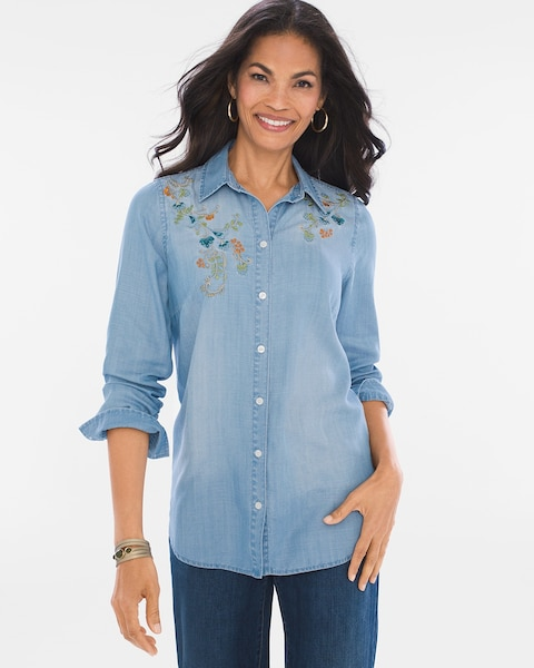 Fine Workmanship ASOS S5012739 Skinny Denim Shirt With Floral Embroidered  Collar In Black / Cherry
