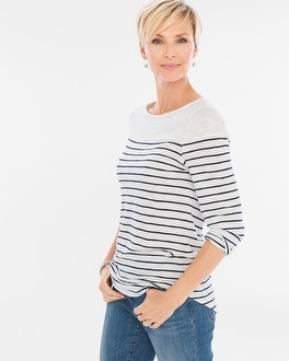 Chico's Cotton Slub Striped Tee at Chico's in Brooklyn, NY | Tuggl