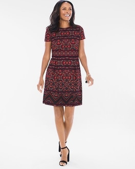 Chico's Folk Floral Fit-and-Flare Dress | Tuggl
