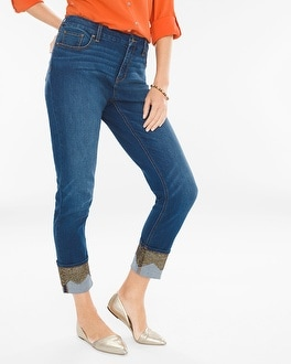 Chico's Foiled Lace Girlfriend Ankle Jeans | Tuggl