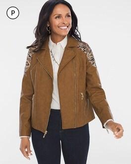 Chico's Petite Faux-Leather Jacquard Moto Jacket | Tuggl