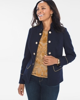 Chico's Military Button Jacket | Tuggl