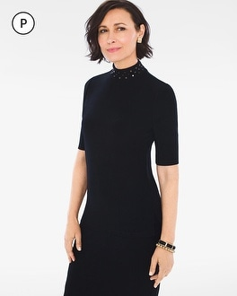 Chico's Petite Studded Mock-Neck Top | Tuggl
