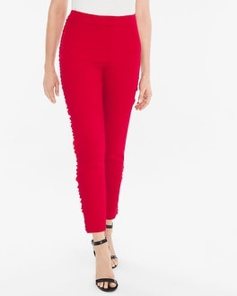Chico's Side-Ruffle Slim Ankle Pants | Tuggl