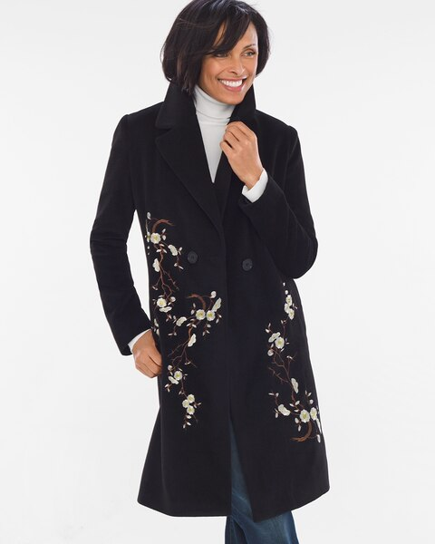 Flower embroidered coat chicos
