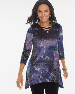 Chico's Midnight Patchwork Tunic | Tuggl