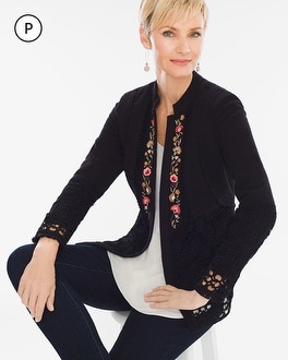 Chico's Petite Floral Embroidered Jacket | Tuggl
