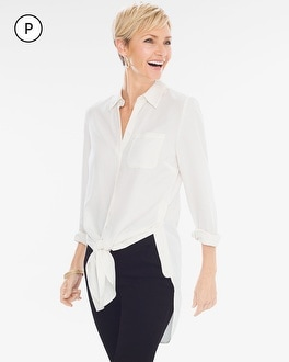 Chico's Petite Button Side Tie-Front Shirt at Chico's in Auburn, GA | Tuggl