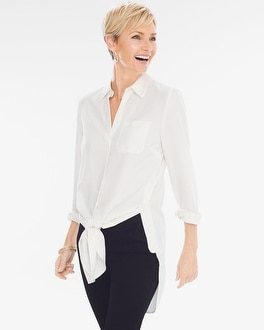Chico's Button Side Tie-Front Shirt at Chico's in Brooklyn, NY | Tuggl