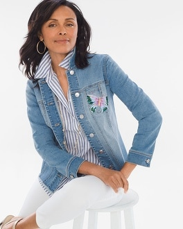 Chico's Hand-Painted Butterfly Denim Jacket | Tuggl
