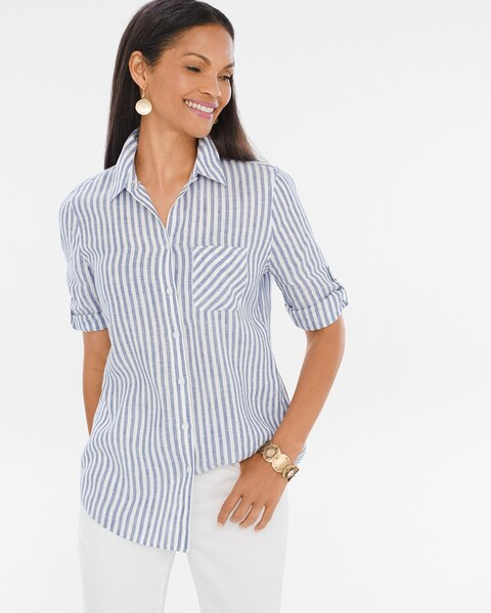 7ff75a6a4f Linen Striped Crisscross-Back Shirt - Chico s