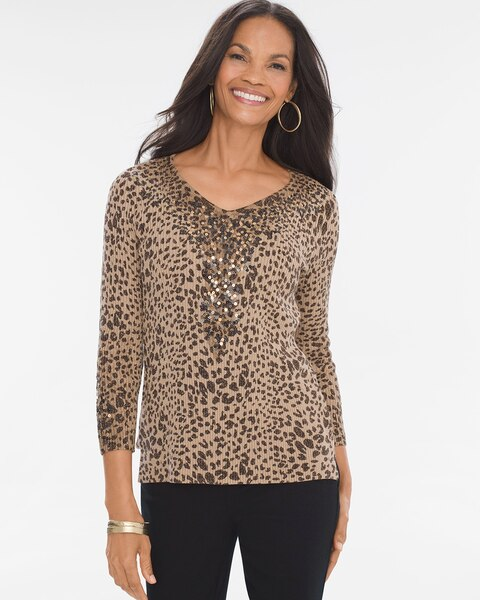 5cc511cff18823 Return to thumbnail image selection Animal Sequin Pullover video preview  image, click to start video