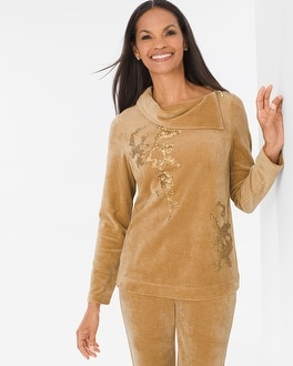 Chico's Velour Embellished Floral Top | Tuggl