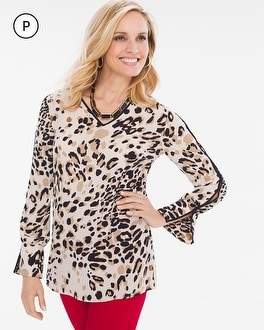Chico's Petite Piped Animal Top | Tuggl