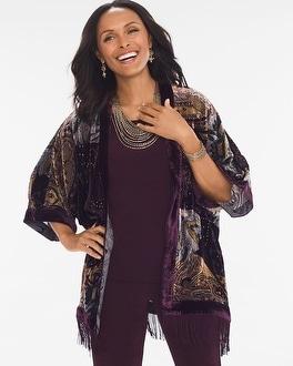 Chico's Velvet Burnout Kimono   Tuggl