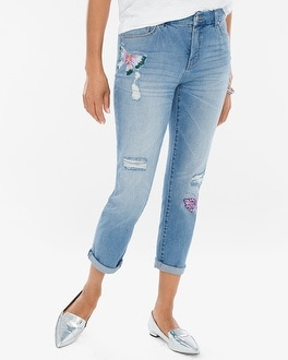 Chico's Painted Butterfly Girlfriend Crops | Tuggl