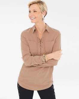 Chico's Silky Soft Lace-Up Tunic at Chico's in Brooklyn, NY | Tuggl