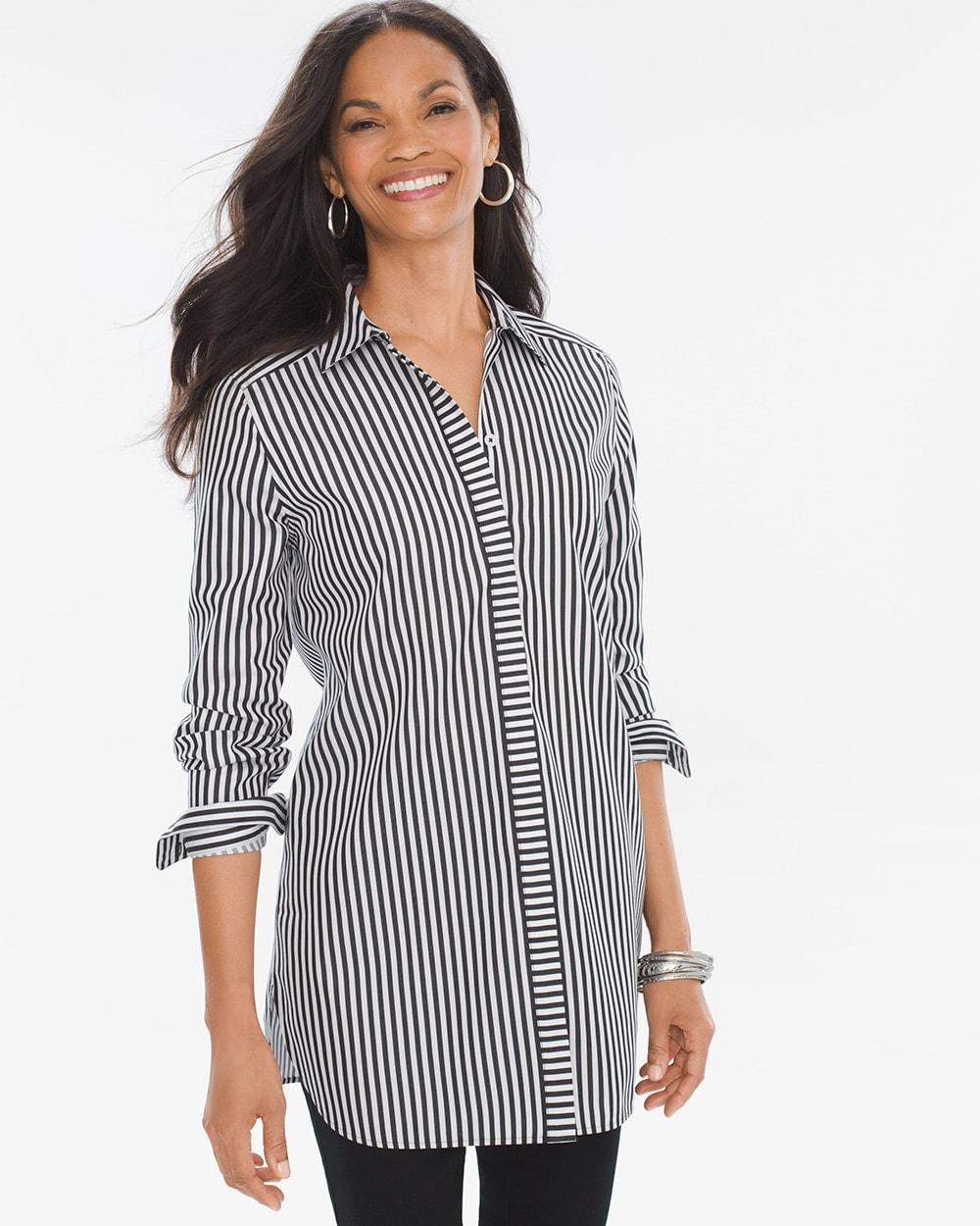 Sateen Striped Marie Shirt Chicos
