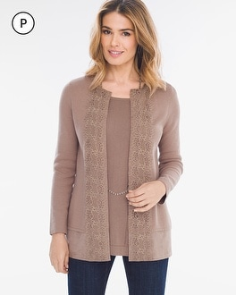 Chico's Petite Lace-Front Cardigan | Tuggl