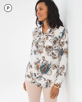 Chico's Petite Silky Soft Botanical Lace-Up Tunic at Chico's in Auburn, GA | Tuggl